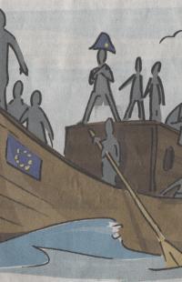 Napoleon als Kapitän des EU-Boots